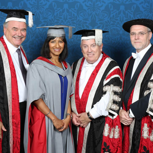 Indian-origin Chancellor Ranvir Singh with colleagues