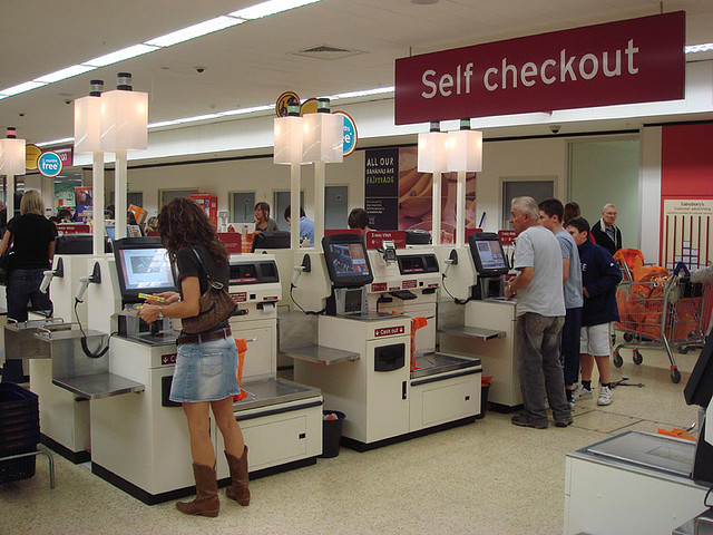Self-checkout counters in Singapore