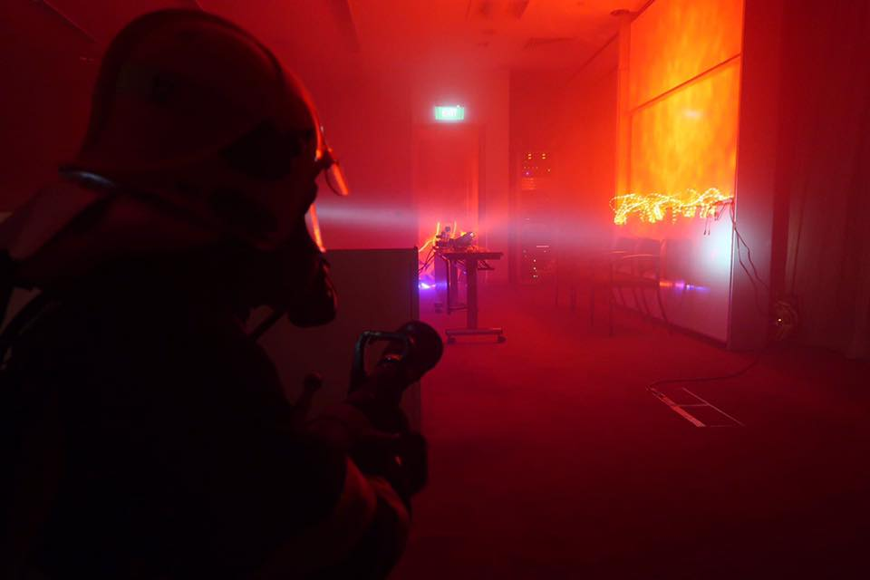 Firefighters equipped with thermal imagers. SCDF Facebook