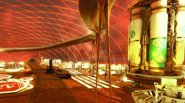Interior view of the building which will be constructed on Mars