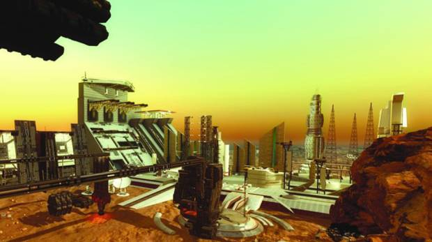 A computer generated image of the city that will be developed on Mars.