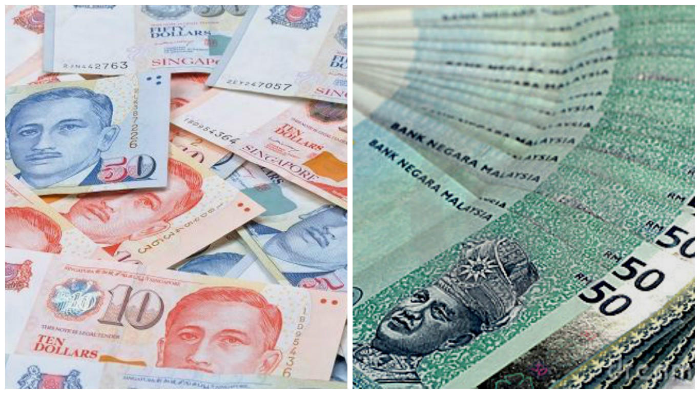 Singapore dollar (left) and Malaysian ringgit.