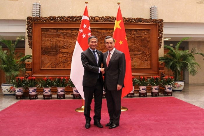 Minister for Foreign Affairs of Singapore Dr Vivian Balakrishnan and Foreign Minister of China Wang Yi