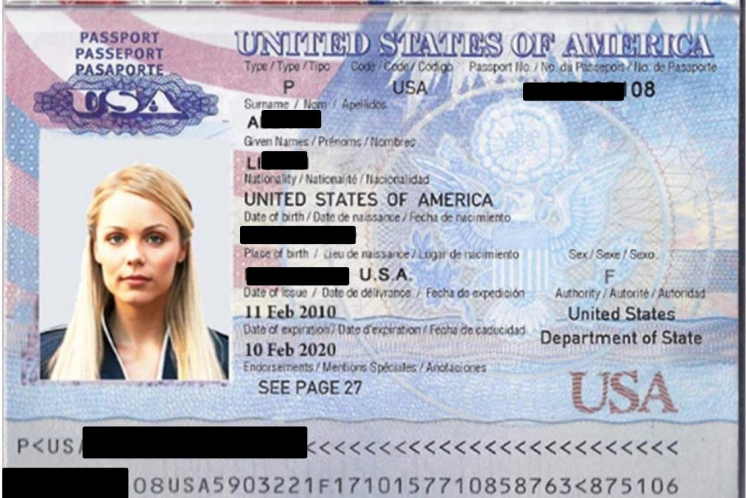 "Actress Laura Vandervoort's image from the television show ""V"" was used to create a fake passport as part of an international credit card fraud scheme."