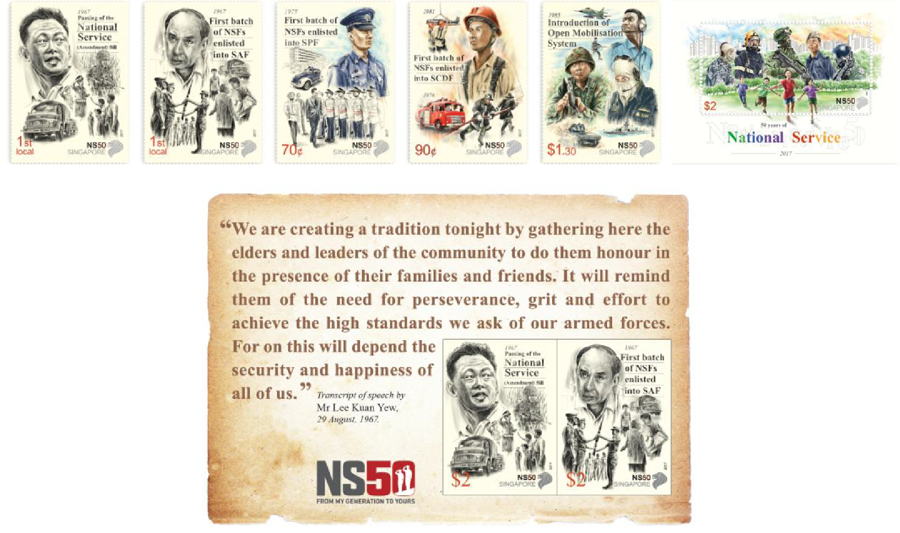 SingPost released a new set of six stamps to commemorate 50 years of National Service.