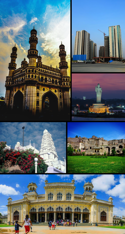 Clockwise from top left: Charminar, modern skyline, Hussain Sagar, Golconda Fort, Chowmahalla Palace and Birla Mandir.