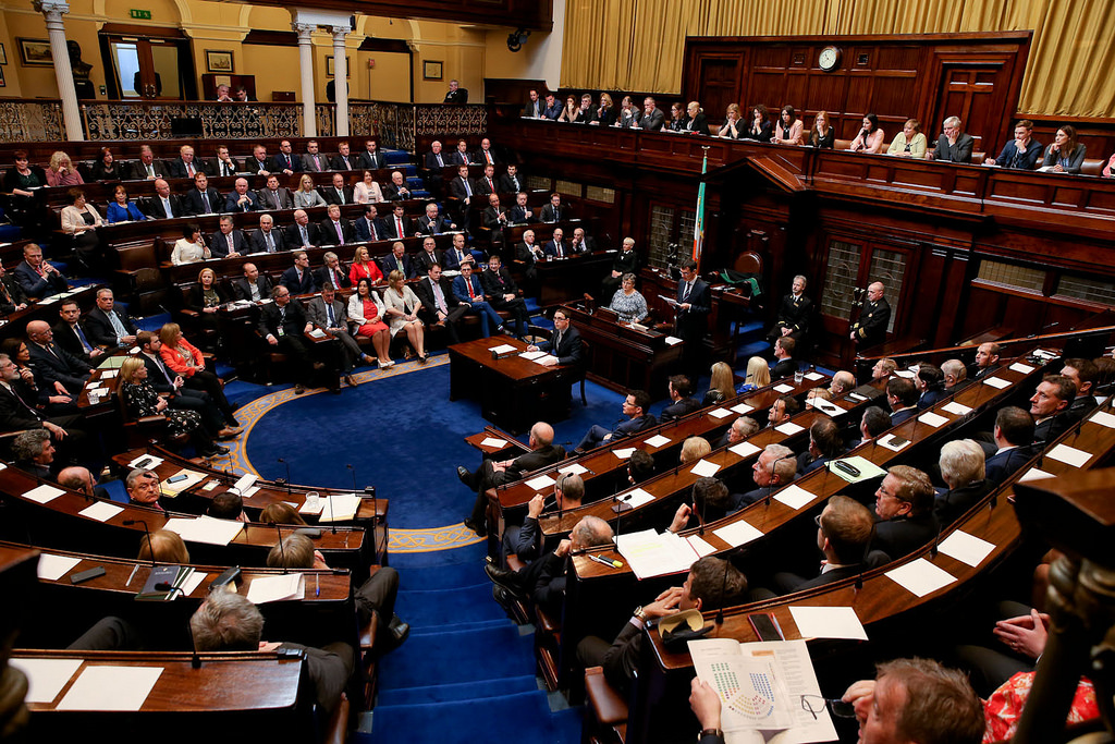 A sitting of the Dáil Éireann in Dublin