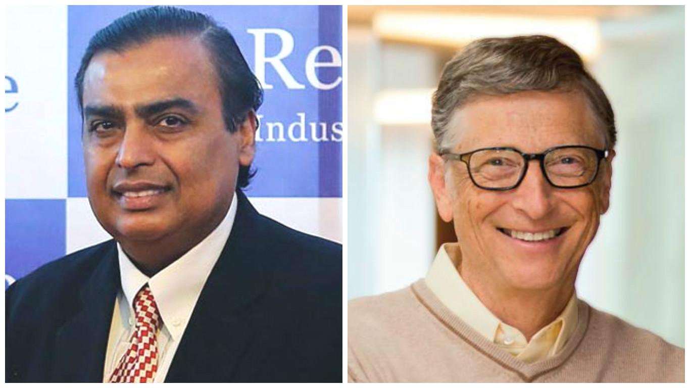 Mukesh Ambani (left) and Bill Gates