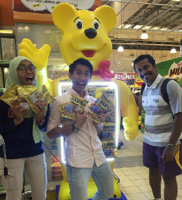 Members of the team in a jubilant mood at a shopping mall in Singapore.