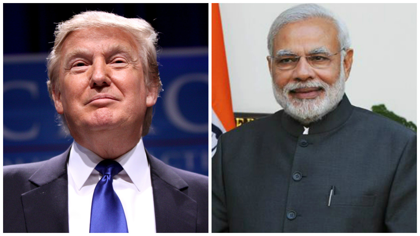 US President Donald Trump (left) and Indian Prime Minister Narendra Modi.