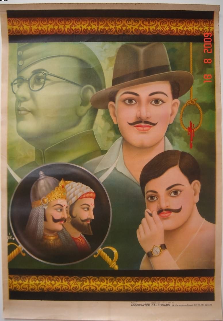 Portraits of Indian revolutionaries.