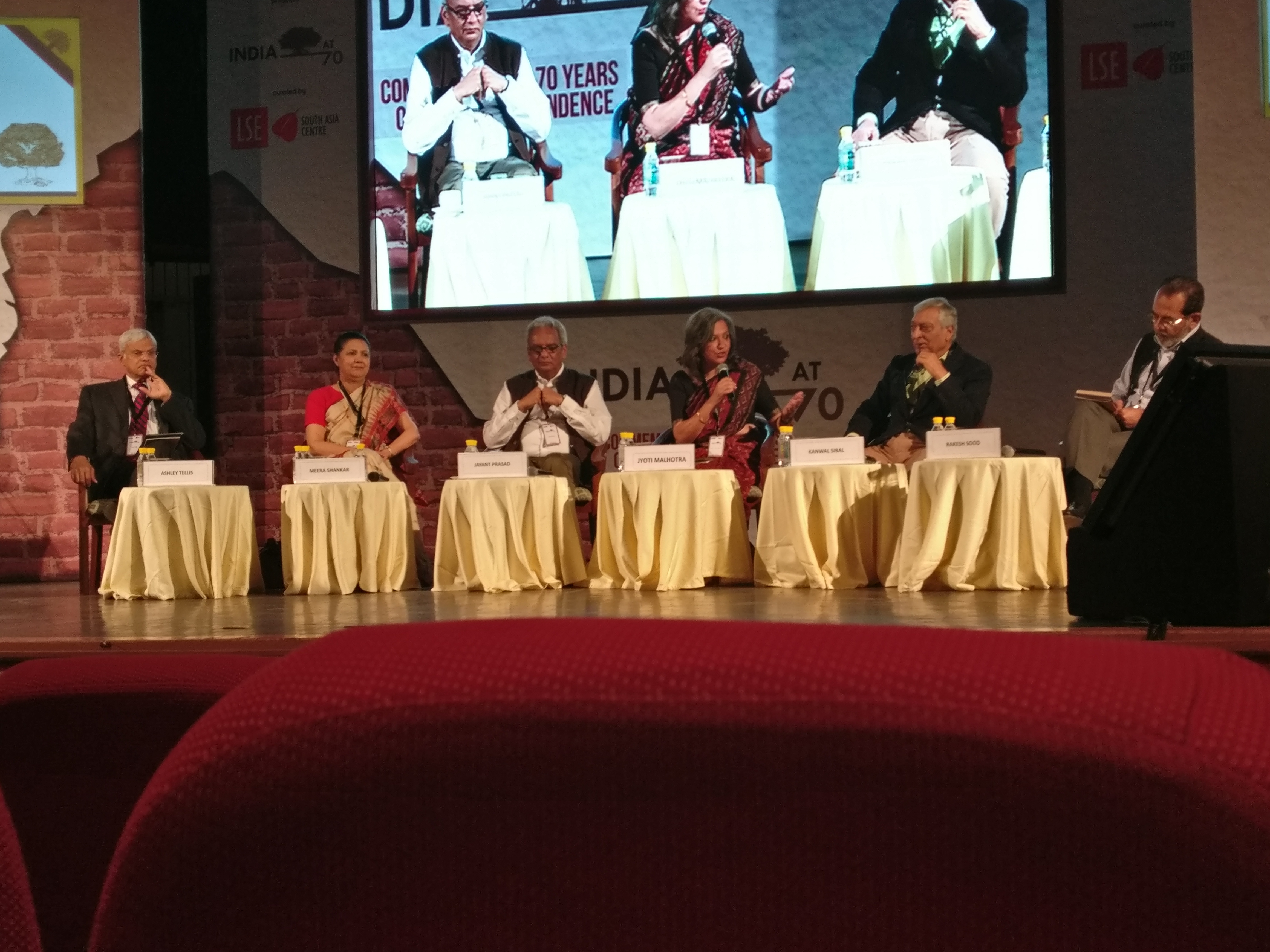 From left: Ashley J Tellis, Meera Shankar, Jayant Prasad, Jyoti Malhotra (moderator), Kanwal Sibal and Rakesh Sood.