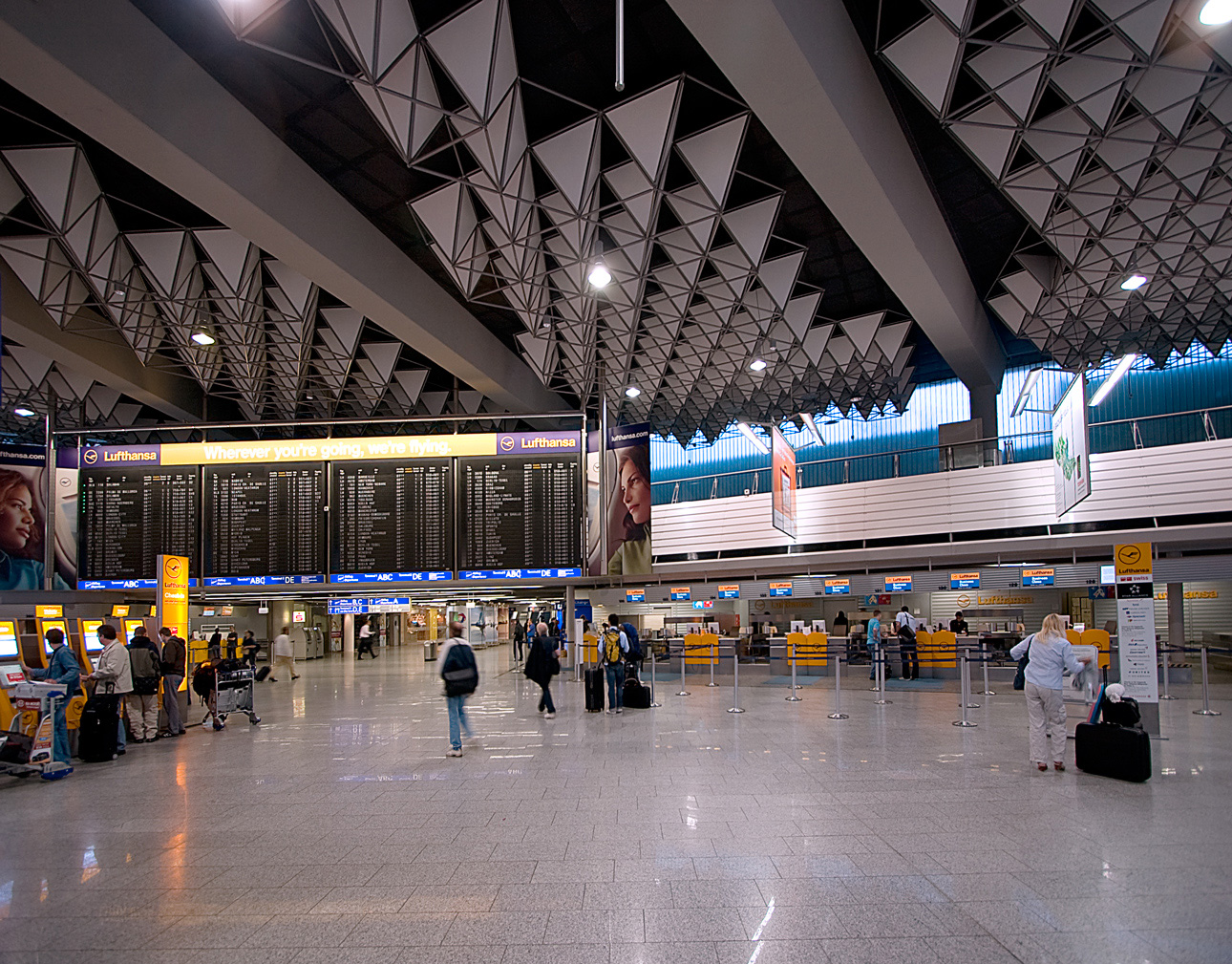Check-in terminal at Frankfurt Airport.