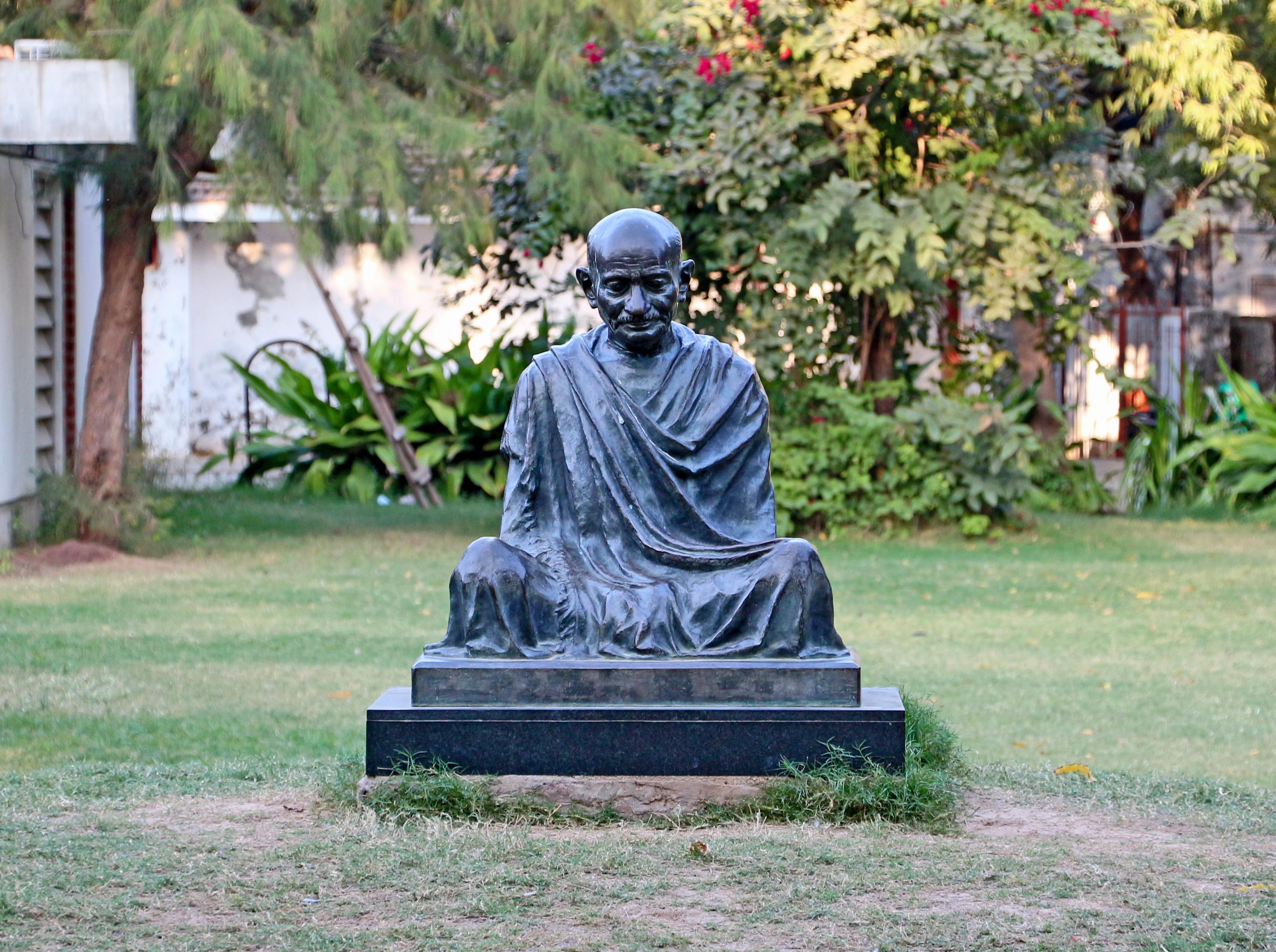 A statue of Gandhi at Sabarmati Ashram.