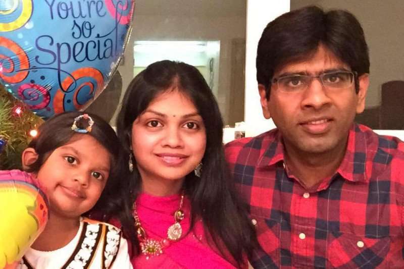 Madhukar Reddy Gudur (right) with his wife Swati Gudur and daughter.