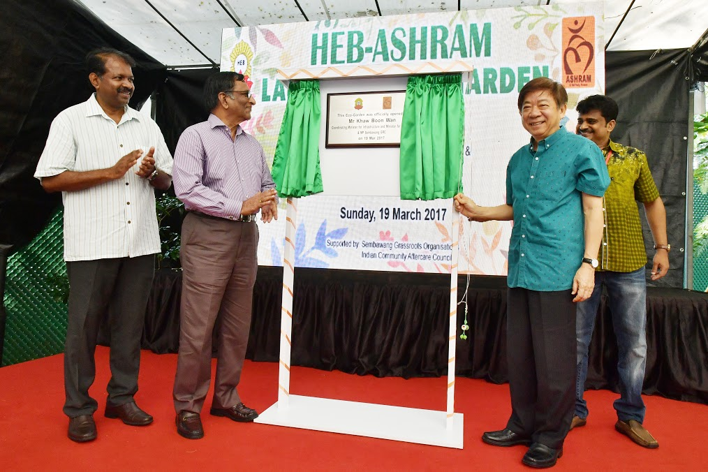 Transport Minister Khaw Boon Wan at the opening of the eco-garden. Photo courtesy: HEB-Ashram Halfway House