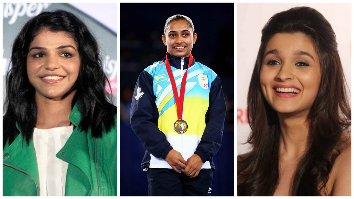 From left: Olympic medalist Sakshi Malik, gymnast Dipa Karmakar and actress Alia Bhatt.