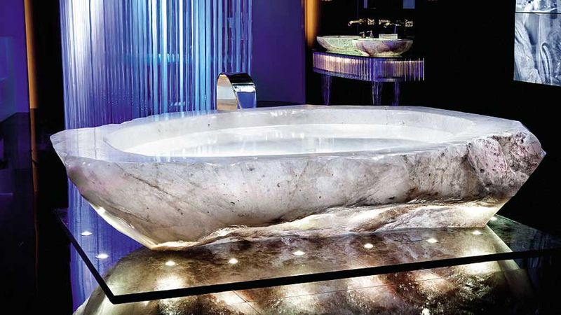 Each bathtub is made of precious rock and weighs more than 10,000kg.
