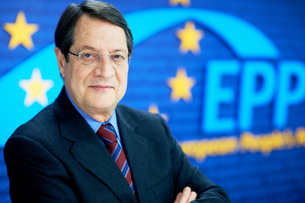 Nicos Anastasiades at the European People's Parliament.