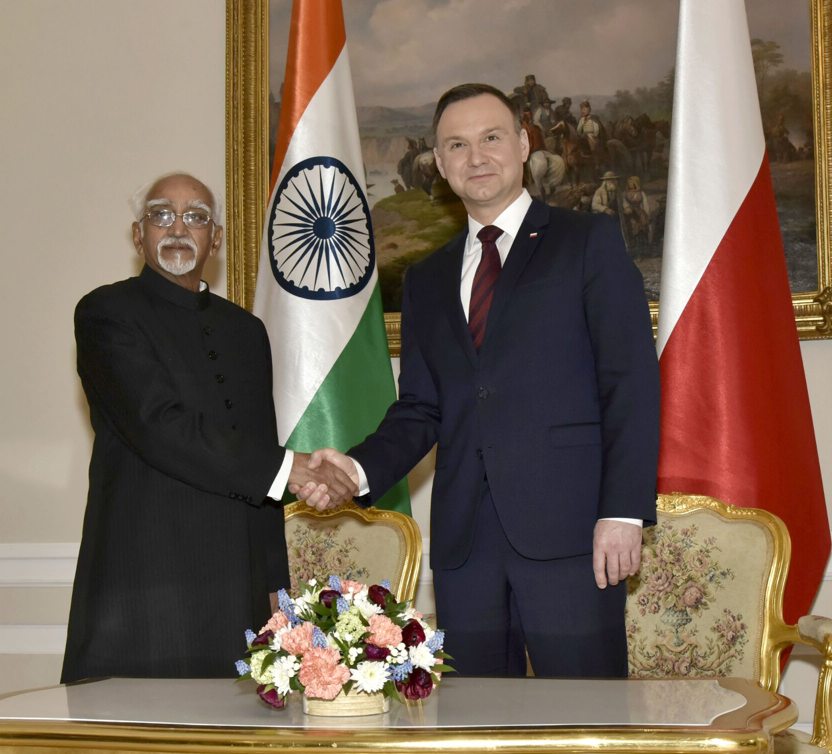 Vice President Hamid Ansari calling on the President of Poland Andrzej Duda, in Warsaw