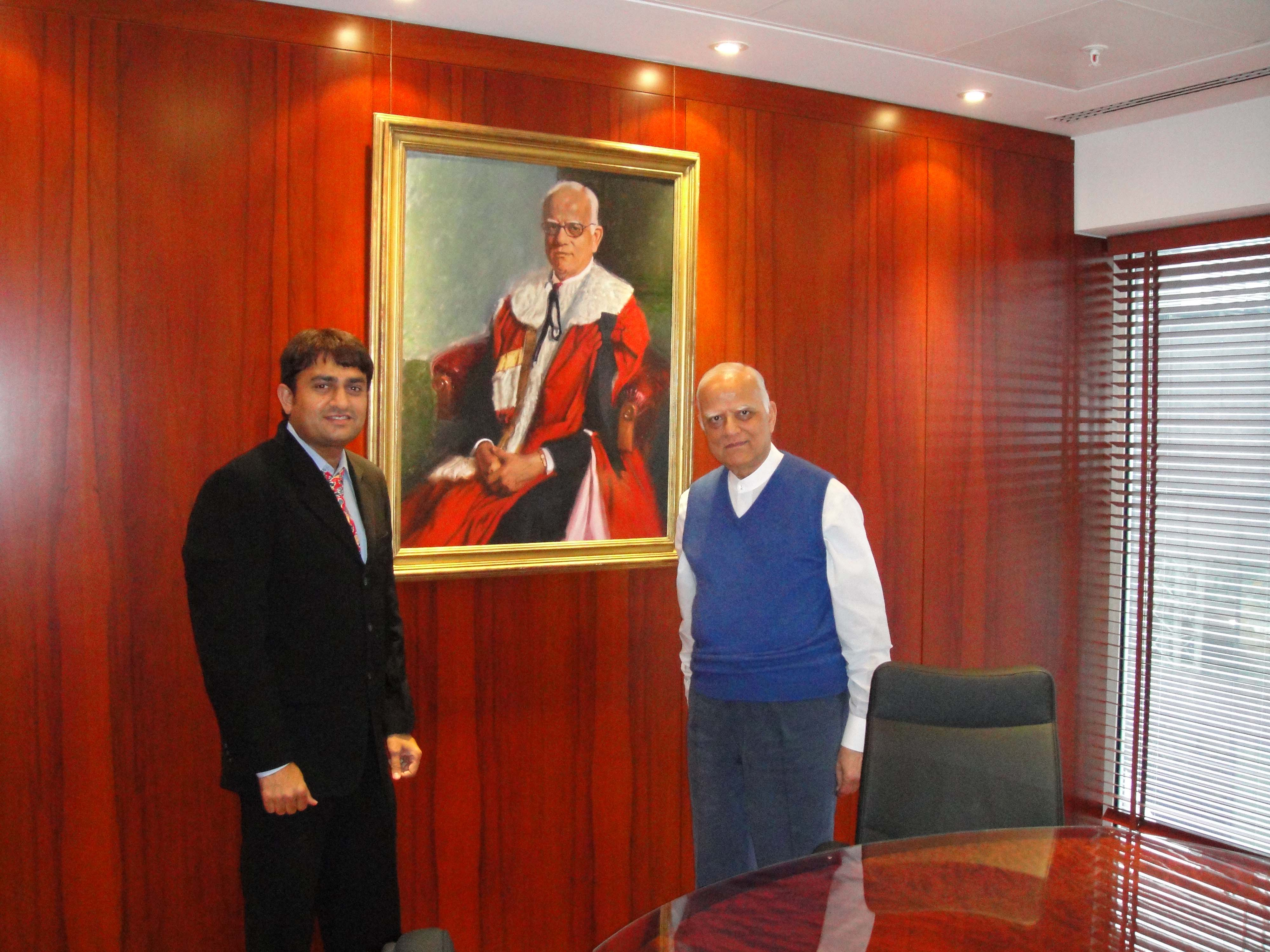Lord Raj Bagri (right) in is office in London.