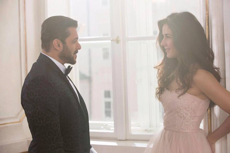 Salman Khan (left) and Katrina Kaif on set.