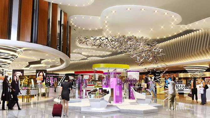 An artist impression of the retail shopping area at Changi Airport Terminal 4.