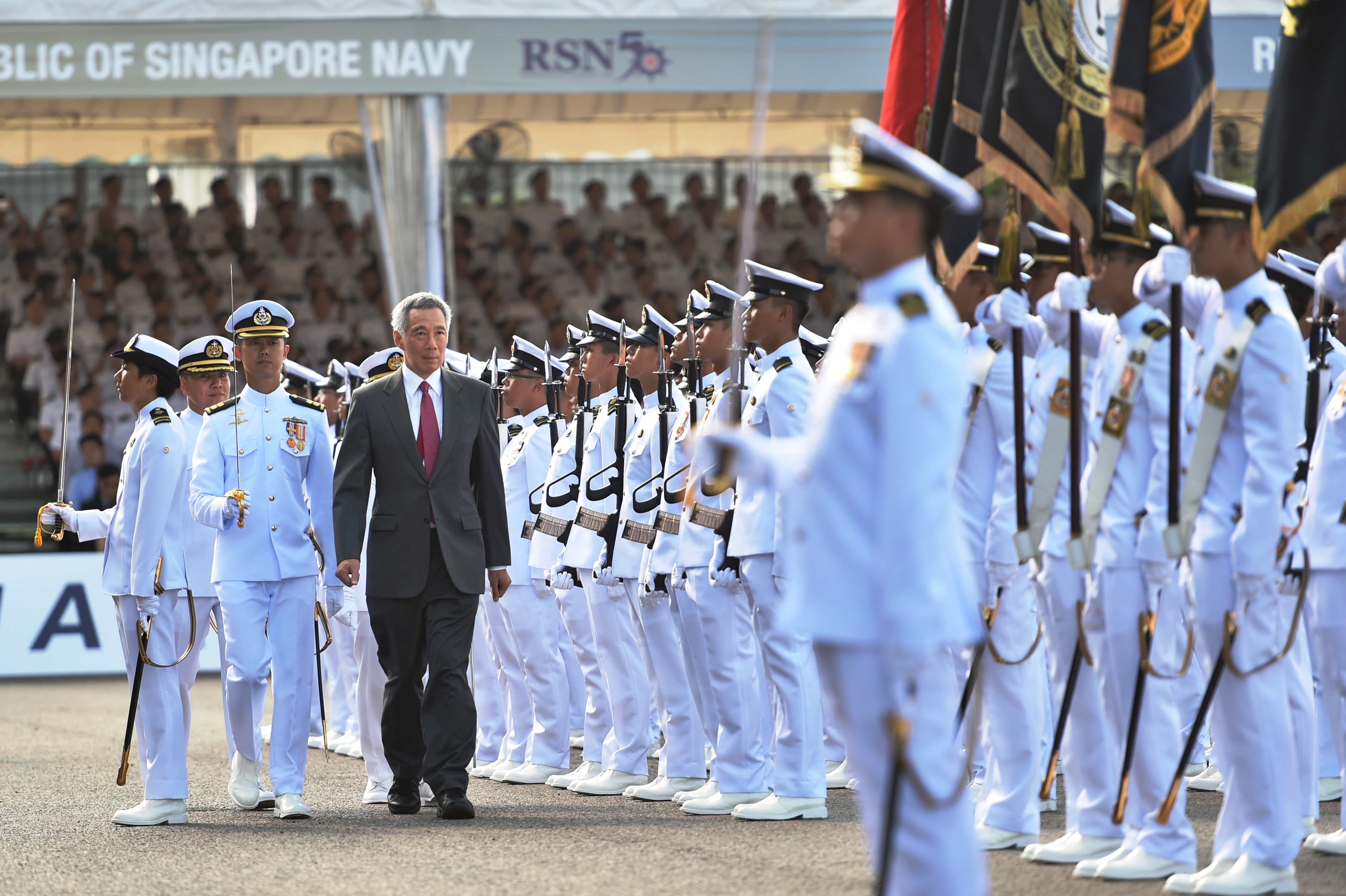 Lee Hsien Loong, Prime Minister of Singapore,  inspecting the Guard of Honour at the Republic of Singapore Navy (RSN)'s Golden Jubilee celebrations and commissioning of first Littoral Mission Vessel RSS Independence held at Changi Naval Base.