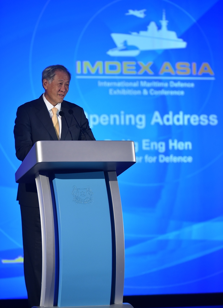 Minister for Defence Dr Ng Eng Hen delivering his speech at the opening ceremony of IMDEX Asia 2017.