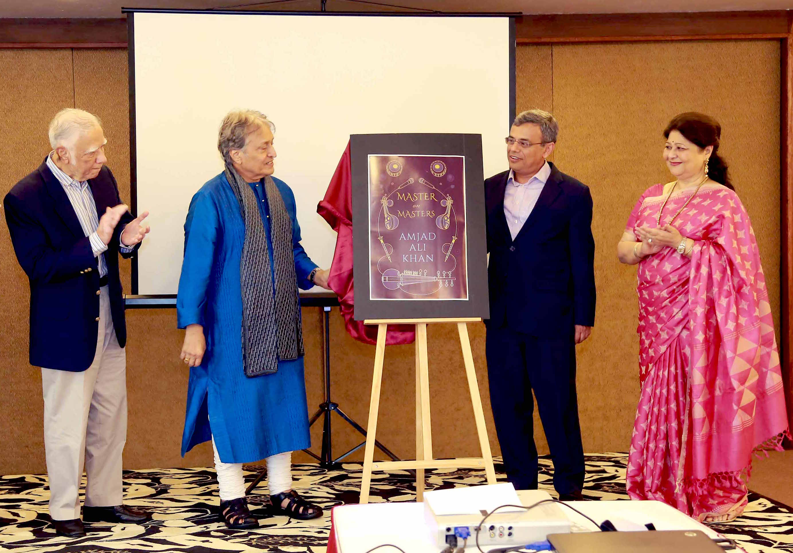 (L-R): Ambassador Gopinath Pillai, Chairman, ISAS and Ambassador-at-Large, Singapore, Sarod Maestro Ustad Amjad Ali Khan, Jawed Ashraf, High Commissioner of India to Singapore, Subhalakshmi Khan releasing the book Master on Masters