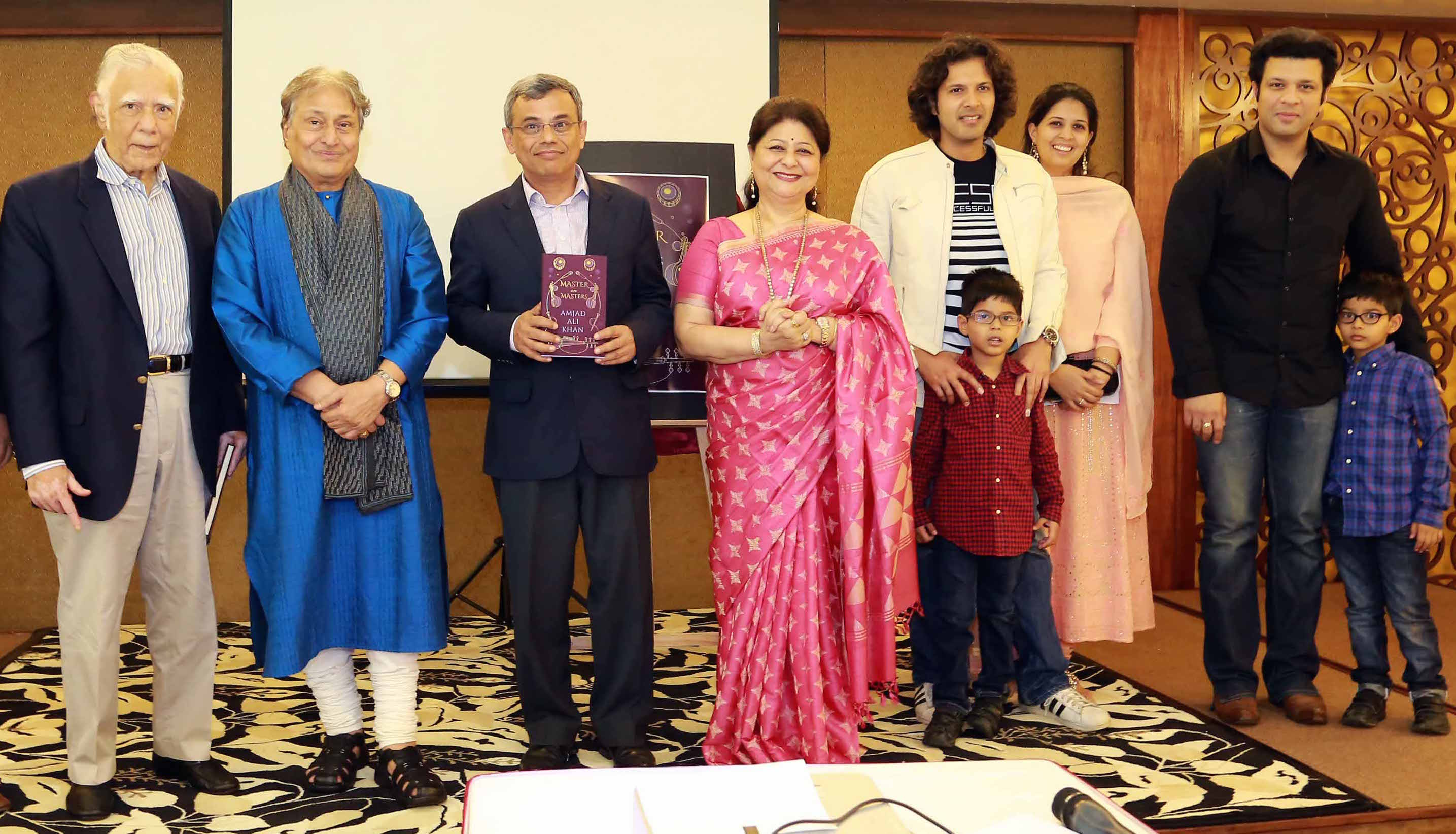 Ustad Amjad Ali Khan with his family, Ambassador Gopinath Pillai and Jawed Ashraf Photo courtesy: ISAS