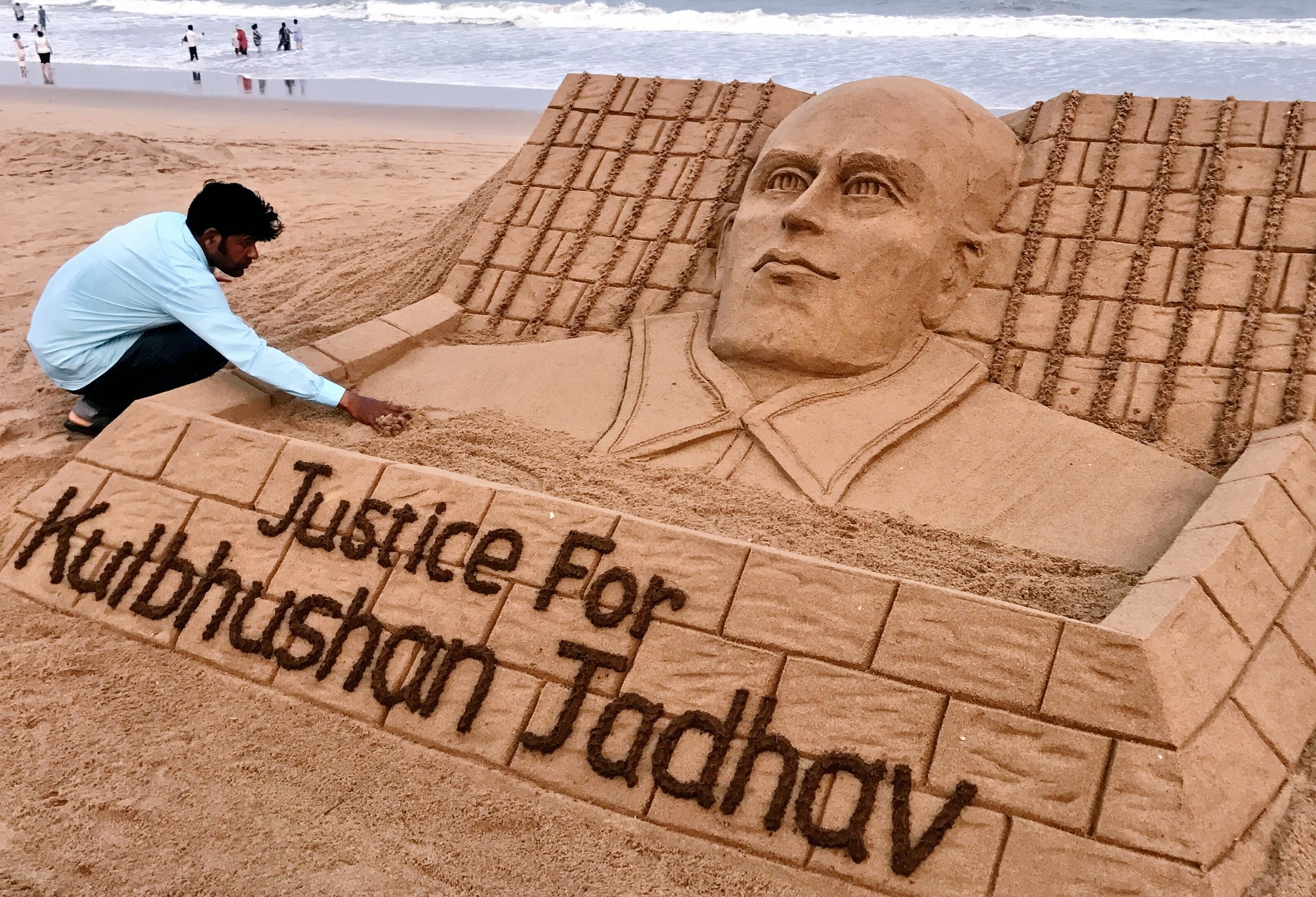 A sand sculpture in support of Kulbhushan Jadhav.