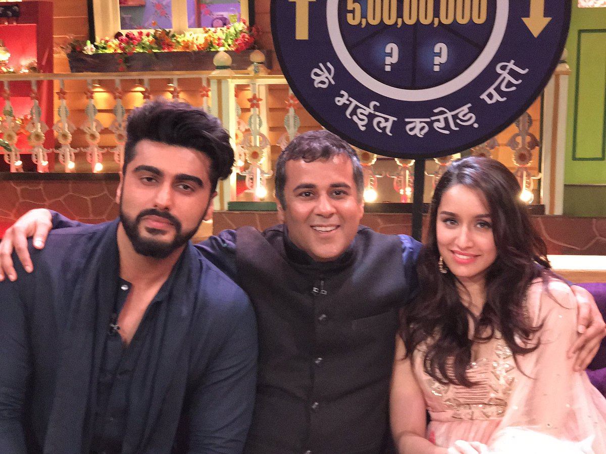 From left: Arjun Kapoor, Chetan Bhagat and Shraddha Kapoor.