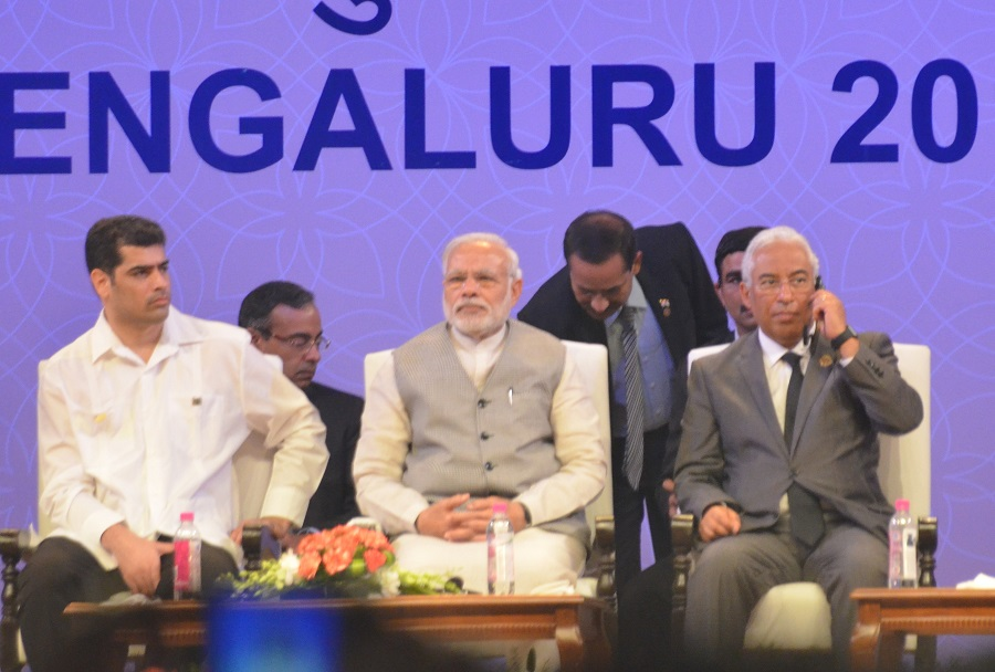Indian PM Narendra Modi (centre) during the Pravasi Bharatiya Divas 2017.