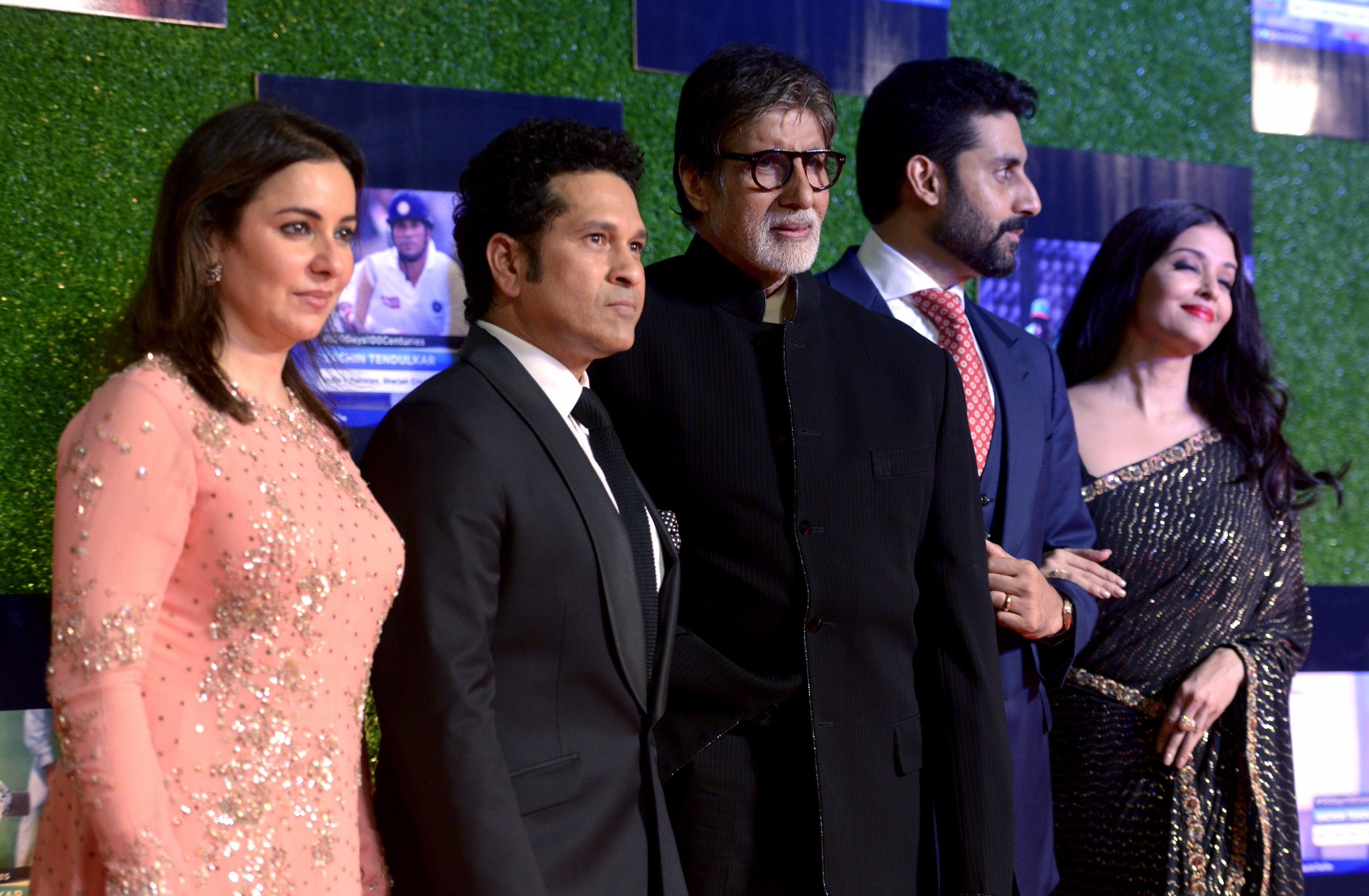 Amitabh Bachchan, Abhishek Bachchan and Aishwarya Rai attending the premiere of film 'Sachin: A Billion Dreams'. Sachin Tendulkar and his wife Anjali were the perfect hosts on the occasion.