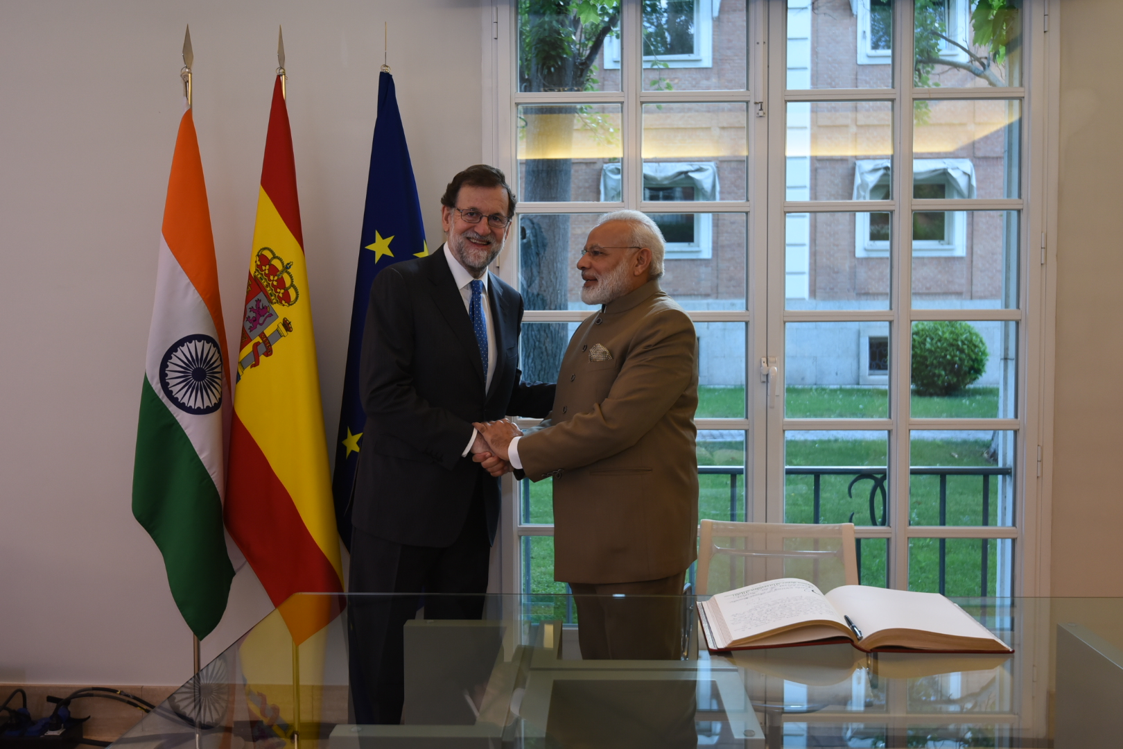 Prime Minister Narendra Modi (right) meeting the President of Spain, Mariano Rajoy, at La Moncloa Palace, in Madrid, Spain. Photo courtesy: MEA