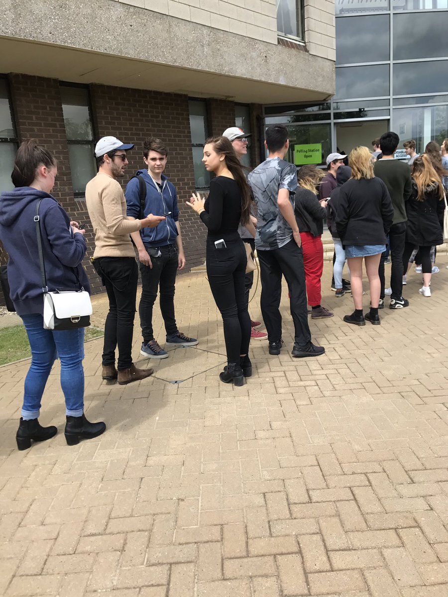 Some of the biggest polling station queues have been seen at Universities.