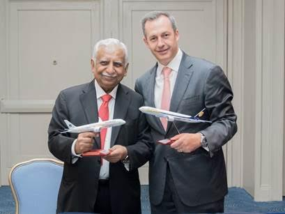 Naresh Goyal, Chairman, Jet Airways and Mr. Andrés Conesa , CEO of Aeromexico sign the  Memorandum of Understanding (MoU) between the two airlines