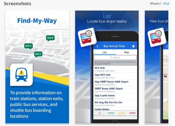 MyTransport app screenshot. Photo courtesy: LTA
