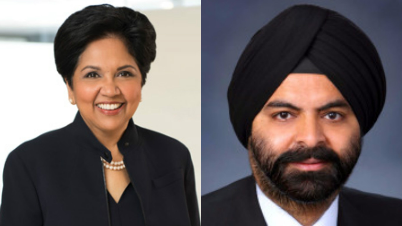 Indra Nooyi, CEO of Pepsico (left) and Ajay Banga, CEO of Mastercard.
