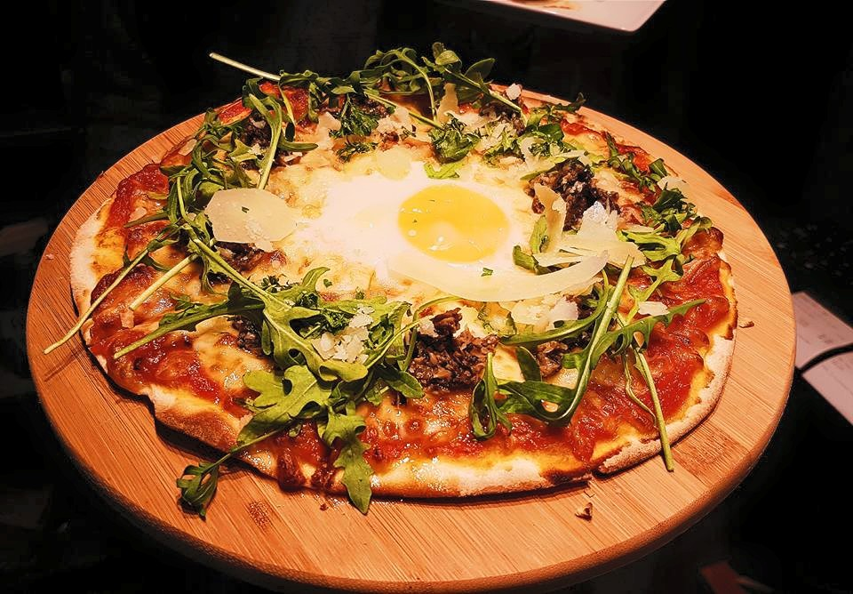 Mushroom, truffle and egg pizza. Photo courtesy: Krave