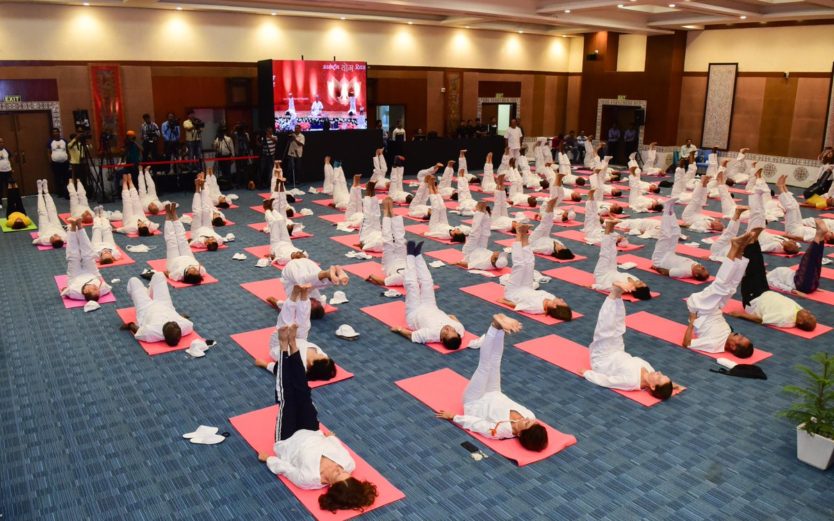 Diplomats from various missions in New Delhi performing asanas