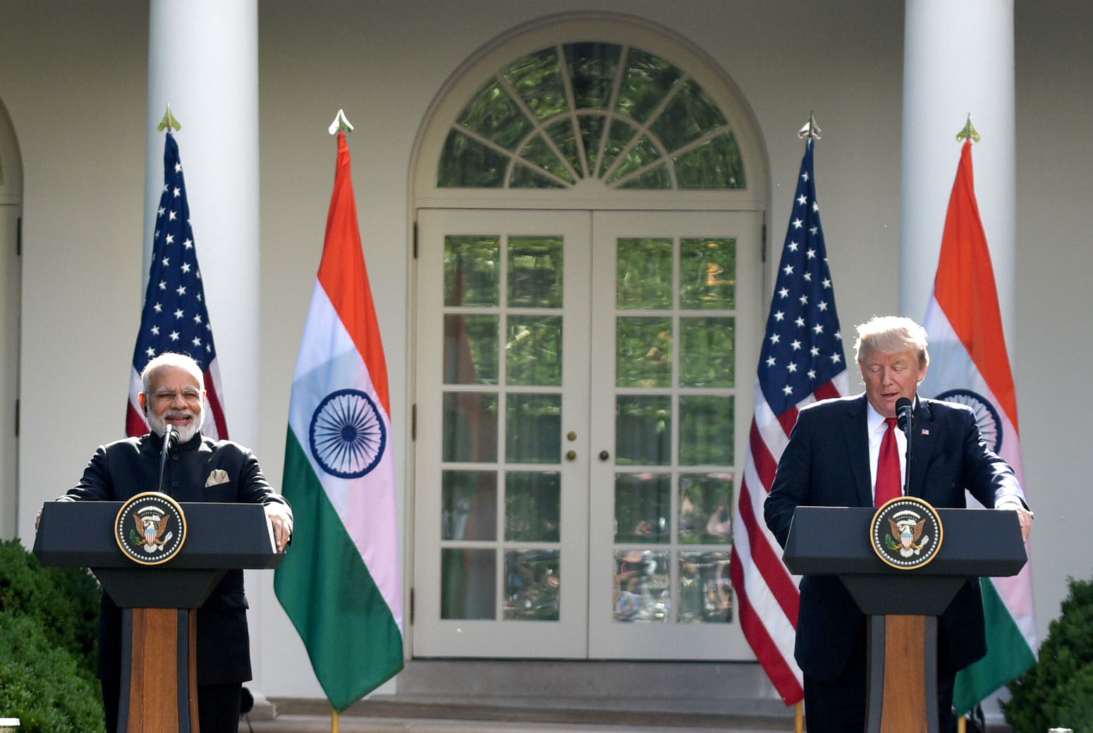 PM Narendra Modi and President Donald Trump addressing the media in the Rose Garden at the White House