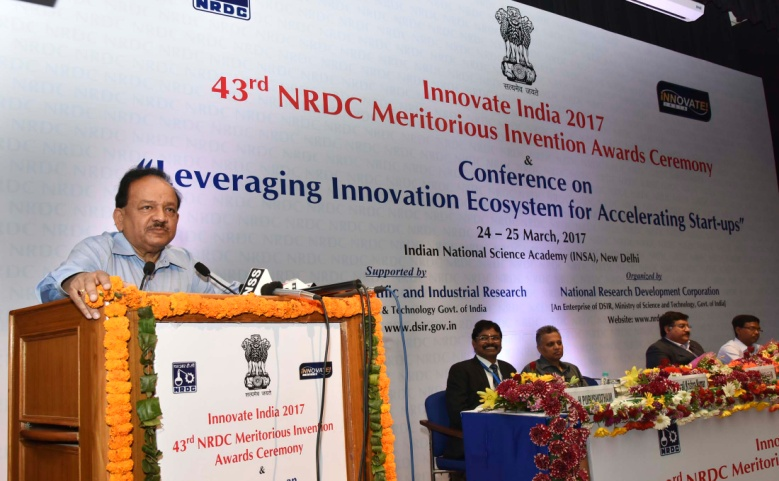 Minister of Science & Technology Dr Harsh Vardhan at ​Innovate India 2017.