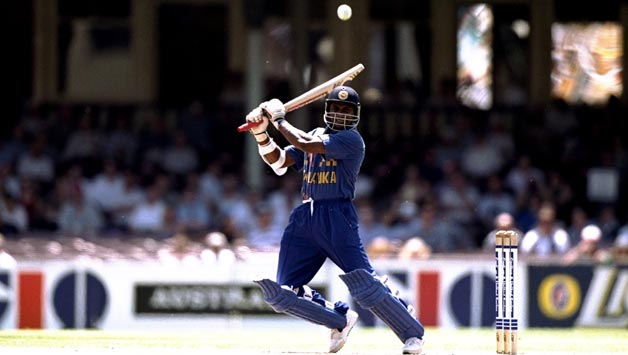 Sanath Jayasuria on his way to scoring a century.
