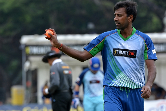 Balaji wearing one of UFL's kits. Photo courtesy: Singapore Cricket Club