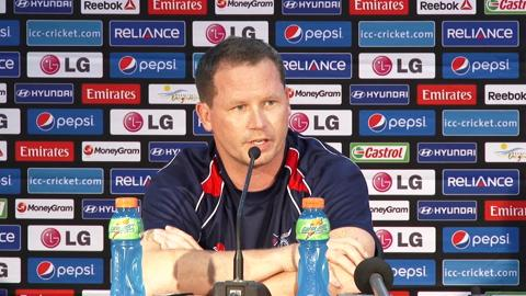 Charlie Burke at an ICC World Cup T20 press conference.