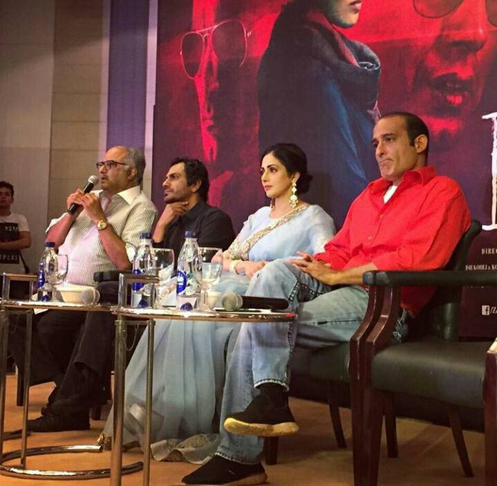 Producer Boney Kapoor, Nawazuddin Siddiqui, Sridevi and Akshaye Khanna.