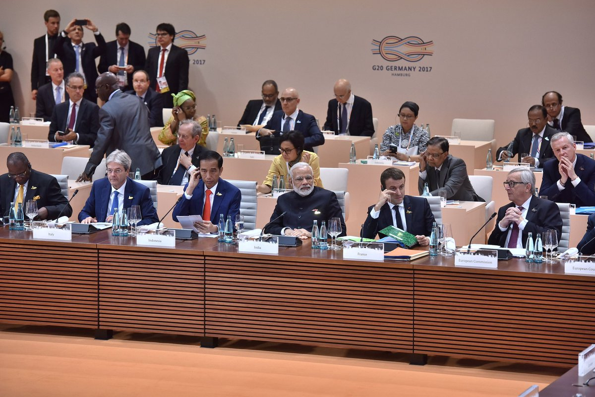 PM Modi at Session I on global growth and trade: GST will create a unified market of 1.3 bn people and build resilience. Photos Courtesy: Indian Ministry of External Affairs