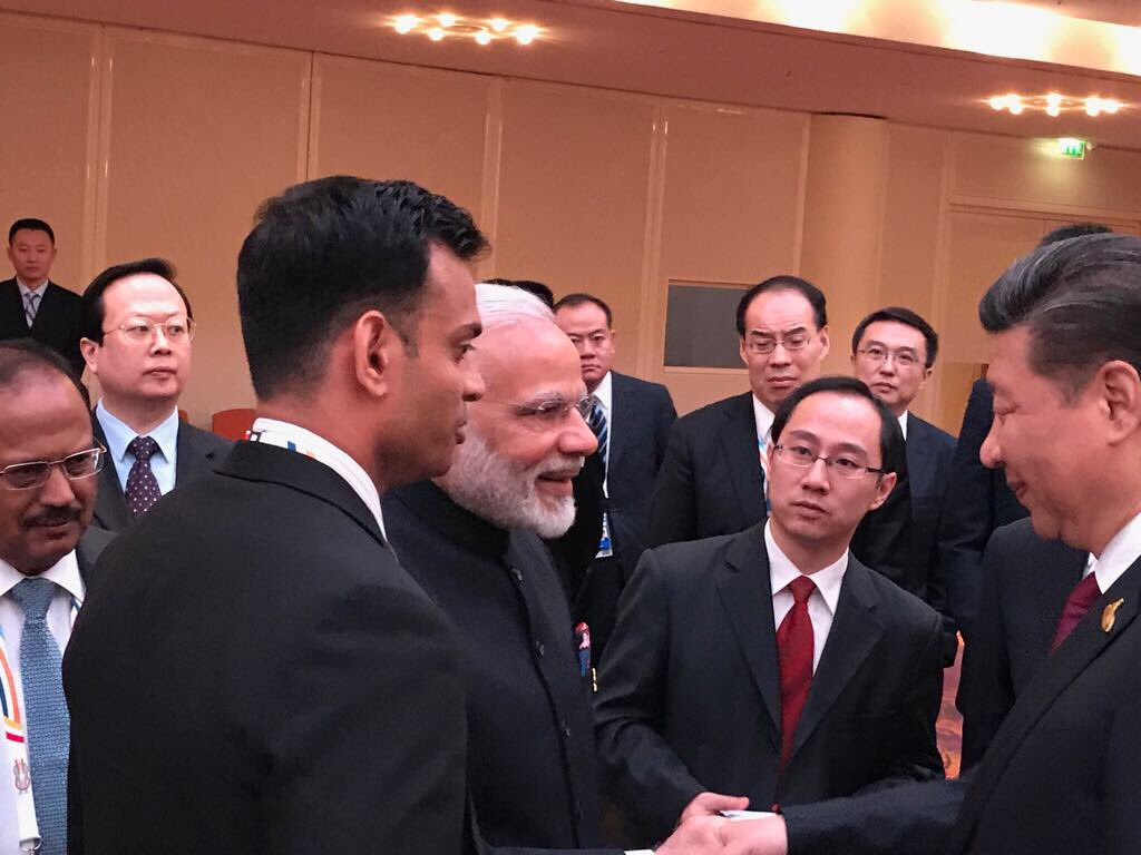 Modi and President Xi Jinping had a conversation on a range of issues at BRICS leaders' informal gathering at Hamburg hosted by China.